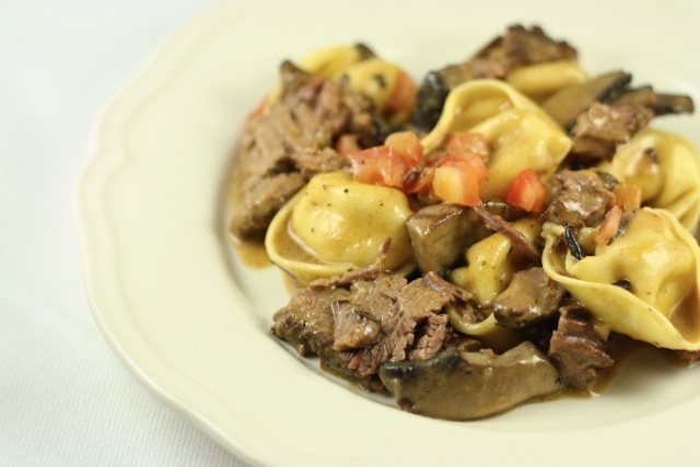 Braised Beef Short Ribs with Tortelloni in a Marsala Cream Sauce