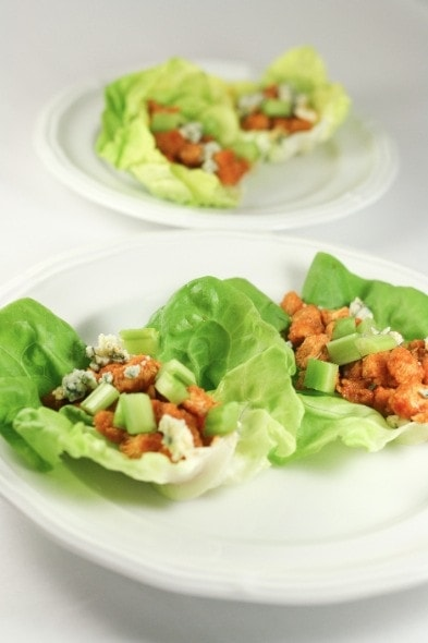 Buffalo Chicken Lettuce Wraps with Celery and Blue Cheese | The Little ...