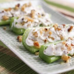 Goat Cheese and Walnut Stuffed Celery