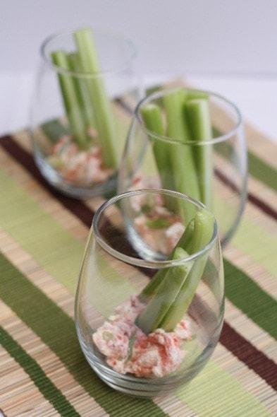 Celery with Smoked Salmon Cream Cheese Dip