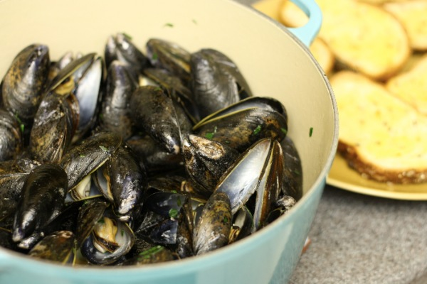 White Wine and Olive Oil Steamed Mussels | The Little Kitchen