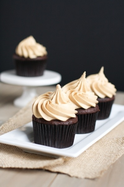 Chocolate Cupcakes with Biscoff Buttercream Icing from thelittlekitchen.net