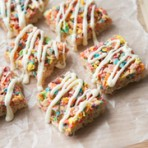 Brown Butter Fruity Pebble Rice Krispy Treats