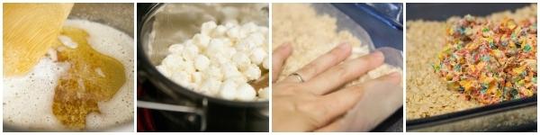 Brown Butter Fruity Pebble Rice Krispy Treats steps
