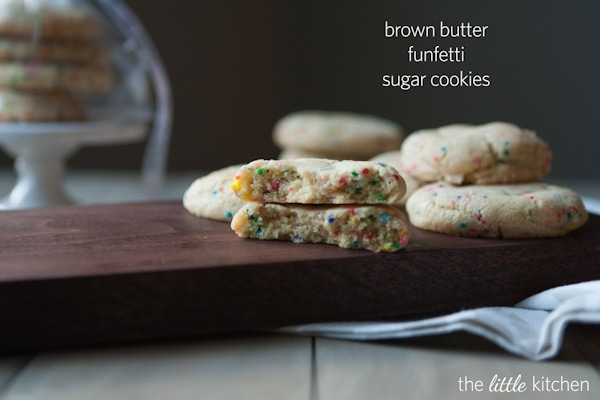 Brown Butter Funfetti Sugar Cookies from thelittlekitchen.net