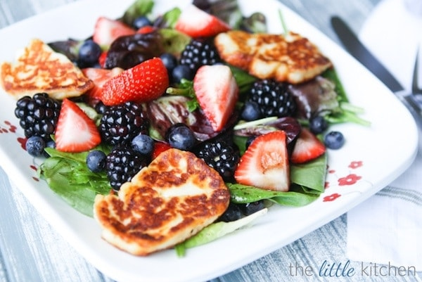 Triple Berry Salad with Halloumi Recipe | The Little Kitchen