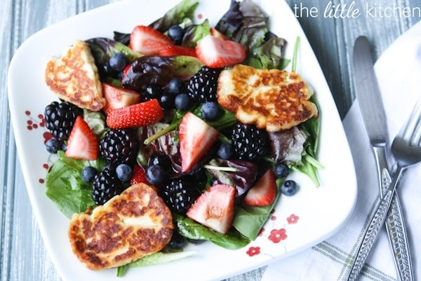 ... berry and arugula salad with grilled halloumi triple melon fruit salad