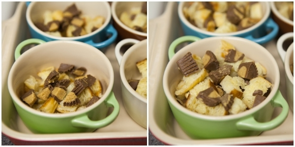 Reese's Peanut Butter Cup Bread Pudding Recipe | The Little Kitchen