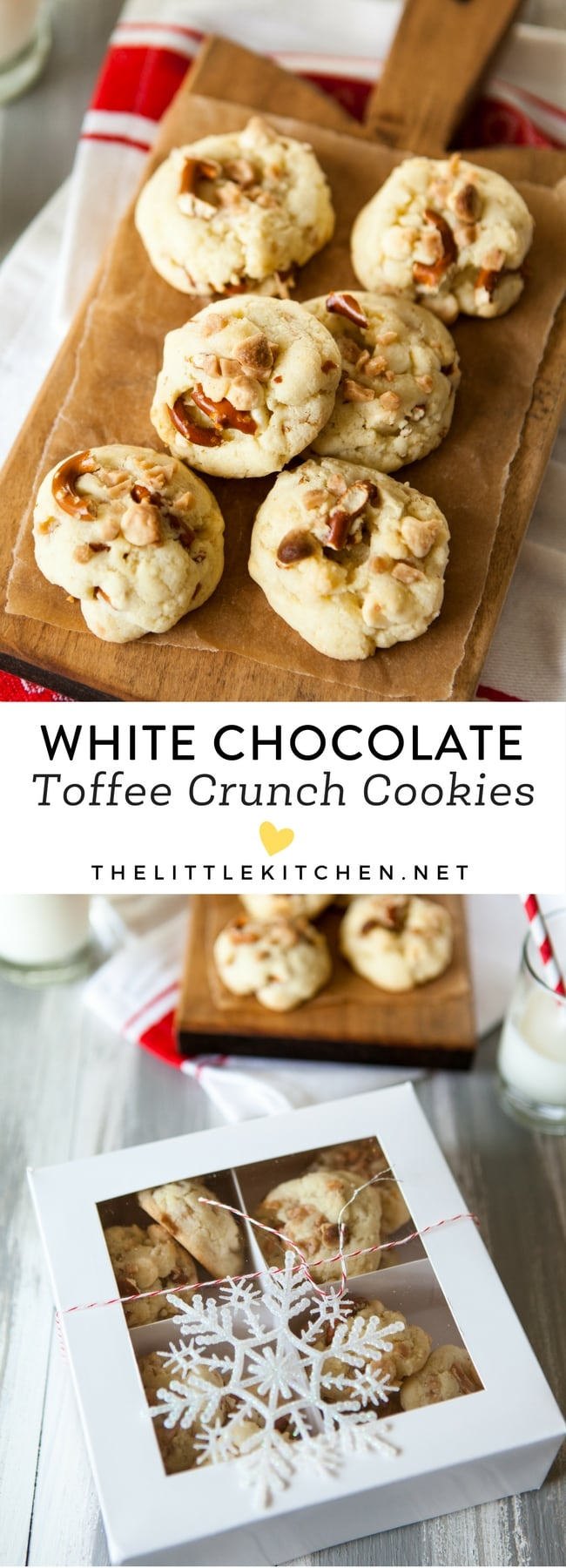 White Chocolate Toffee Crunch Cookies from thelittlekitchen.net
