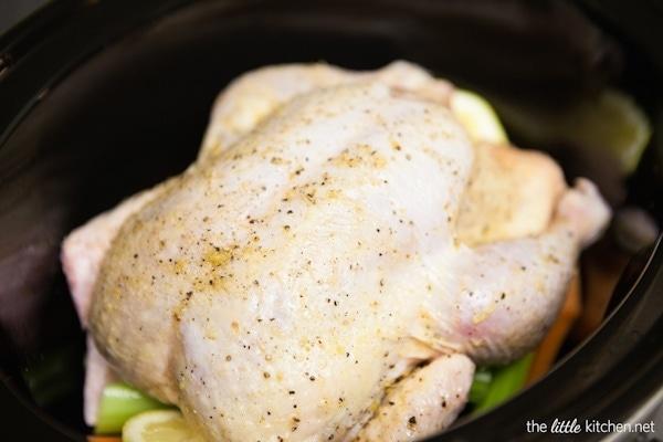 Lemon Pepper Roast Chicken in a Slow Cooker