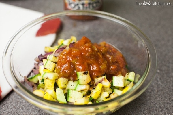Tostitos SCOOPS! with Grilled Vegetables and Pepper Jack Cheese from The Little Kitchen