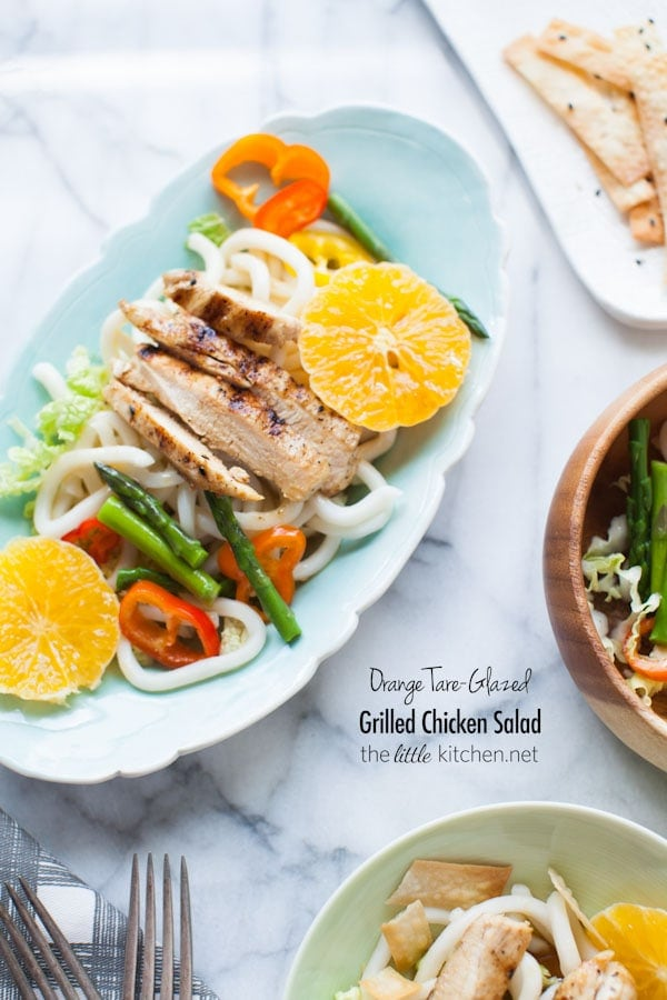 Orange Tare-Glazed Grilled Chicken Salad from thelittlekitchen.net