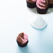 Triple Chocolate Cupcakes with Pink & Chocolate Swirled Frosting from thelittlekitchen.net