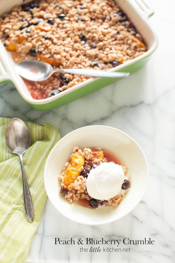 Peach and Blueberry Crumble from thelittlekitchen.net