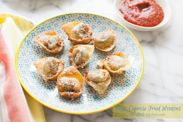 Pesto Caprese Fried Wontons from thelittlekitchen.net