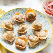 Pesto Caprese Fried Wontons from thelittlekitchen.net