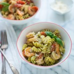 Shrimp and Pesto Pasta Toss from thelittlekitchen.net