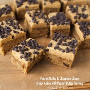 Peanut Butter & Chocolate Chunk Snack Cakes with Peanut Butter Frosting from thelittlekitchen.net