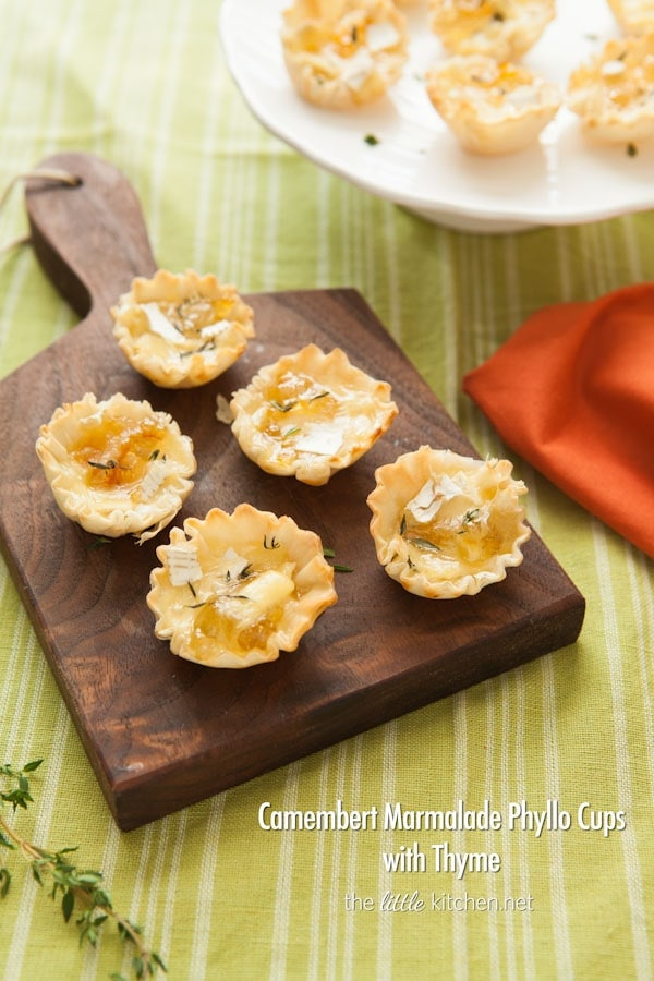 Camembert Marmalade Phyllo Cups with Thyme from thelittlekitchen.net