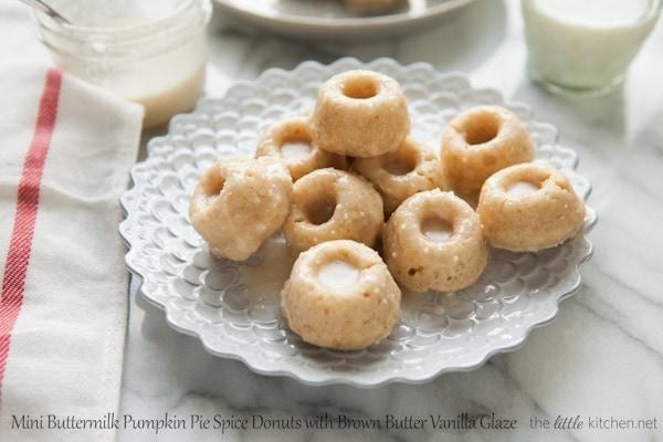 Mini Buttermilk Pumpkin Pie Spice Donuts from thelittlekitchen.net