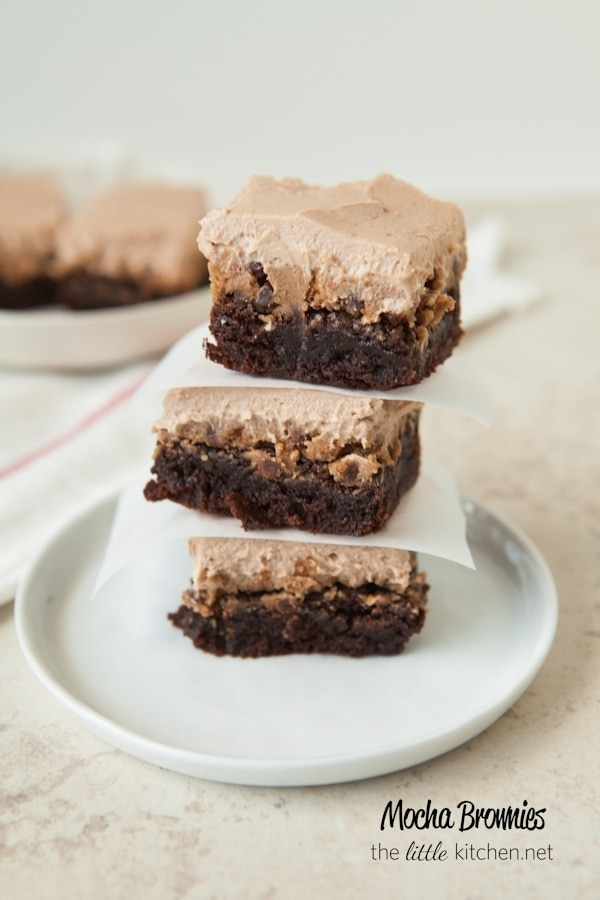 Chocolate Chip Mocha Cookie Dough Brownies from thelittlekitchen.net