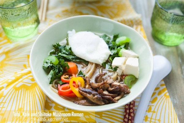 Prep the noodle bowl. Add noodles, cooked mushrooms, uncooked kale ...