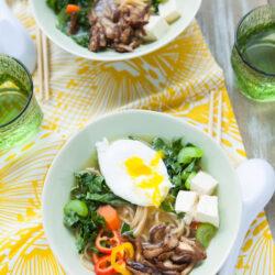 Tofu, Kale & Shiitake Mushroom Ramen Noodle Soup from thelittlekitchen.net