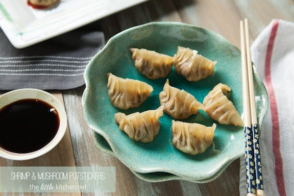 Shrimp and Mushroom Potstickers from thelittlekitchen.net
