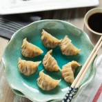 Shrimp and Mushroom Potstickers from thelittlekitchen.net