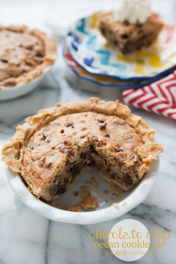 Chocolate Chip Pecan Cookie Pie from thelittlekitchen.net