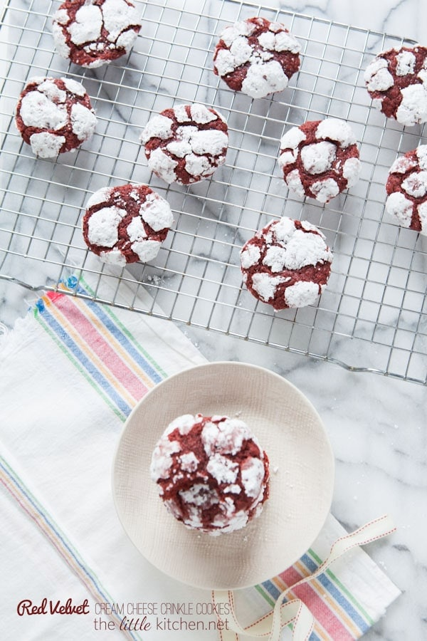 Red Velvet Cream Cheese Crinkle Cookies from thelittlekitchen.net