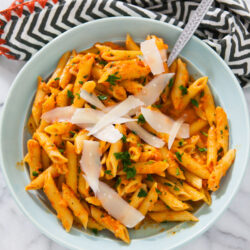 Roasted Red Pepper Pasta with Goat from thelittlekitchen.net