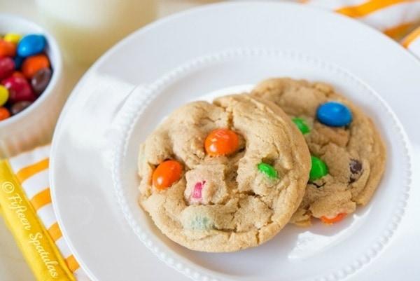 Peanut Butter M&M Cookies from Fifteen Spatulas