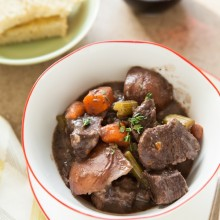 Pressure Cooker Red Wine Beef Stew from thelittlekitchen.net