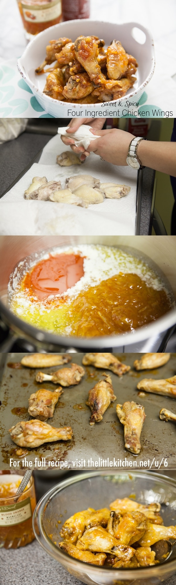 {so easy and they taste amazing!} Sweet and Spicy Four Ingredient Chicken Wings from thelittlekitchen.net