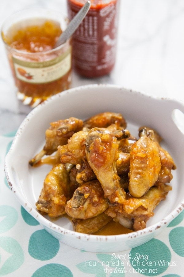 Sweet and Spicy Four Ingredient Chicken Wings from thelittlekitchen ...