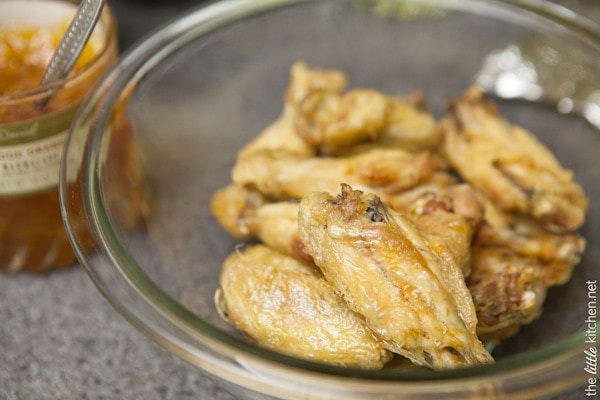 Sweet and Spicy Four Ingredient Chicken Wings from thelittlekitchen.net