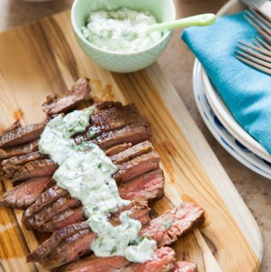 Grilled Flank Steak with Chimichurri Butter from thelittlekitchen.net