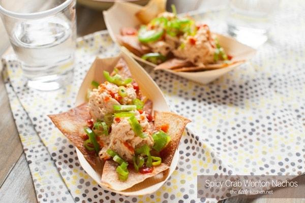 Spicy Crab Wonton Nachos from thelittlekitchen.net