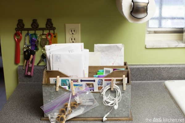 Kitchen Organizing Tip: Use a great looking mail center to relieve the clutter from daily mail