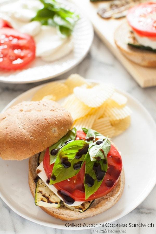 Grilled Zucchini Caprese Sandwich from thelittlekitchen.net