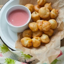 Fried Donut Holes with Strawberry Glaze