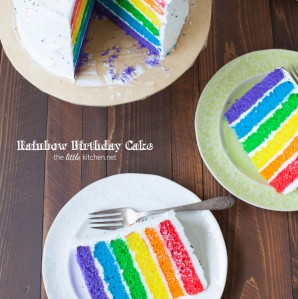 Rainbow Birthday Cake from thelittlekitchen.net