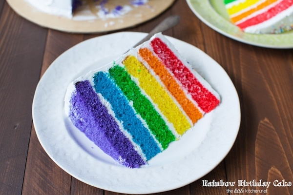 Rainbow Birthday Cake from thelittlekitchen.net