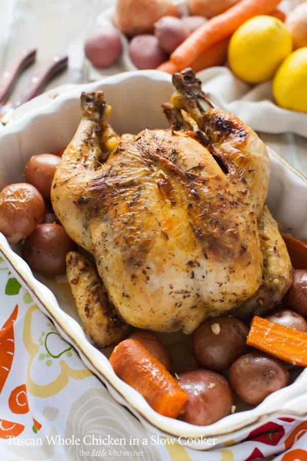 Tuscan Whole Chicken in a Slow Cooker from thelittlekitchen.net