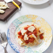 Butter & Onion Tomato Sauce Pasta with Brie from thelittlekitchen.net