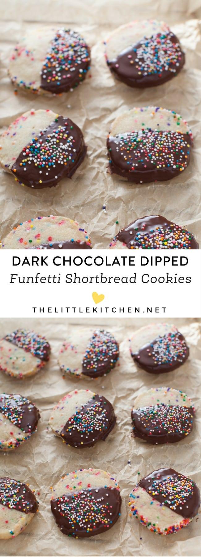 Dark Chocolate Dipped Funfetti Shortbread Cookies from thelittlekitchen.net