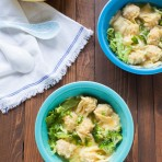Pork and Shrimp Wonton Soup with Broccoli and Escarole from thelittlekitchen.net