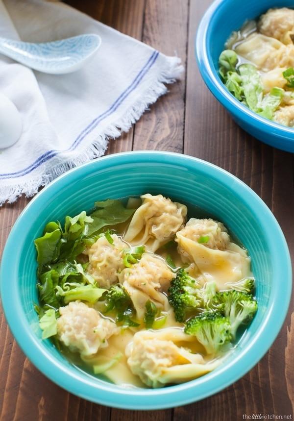Pork and Shrimp Wonton Soup with Broccoli and Escarole Recipe