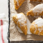 Pumpkin Obsessed Vanilla-Glazed Scones from thelittlekitchen.net
